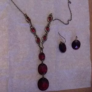 Red All Over Beaded Y Necklace & Earrings Gift Set